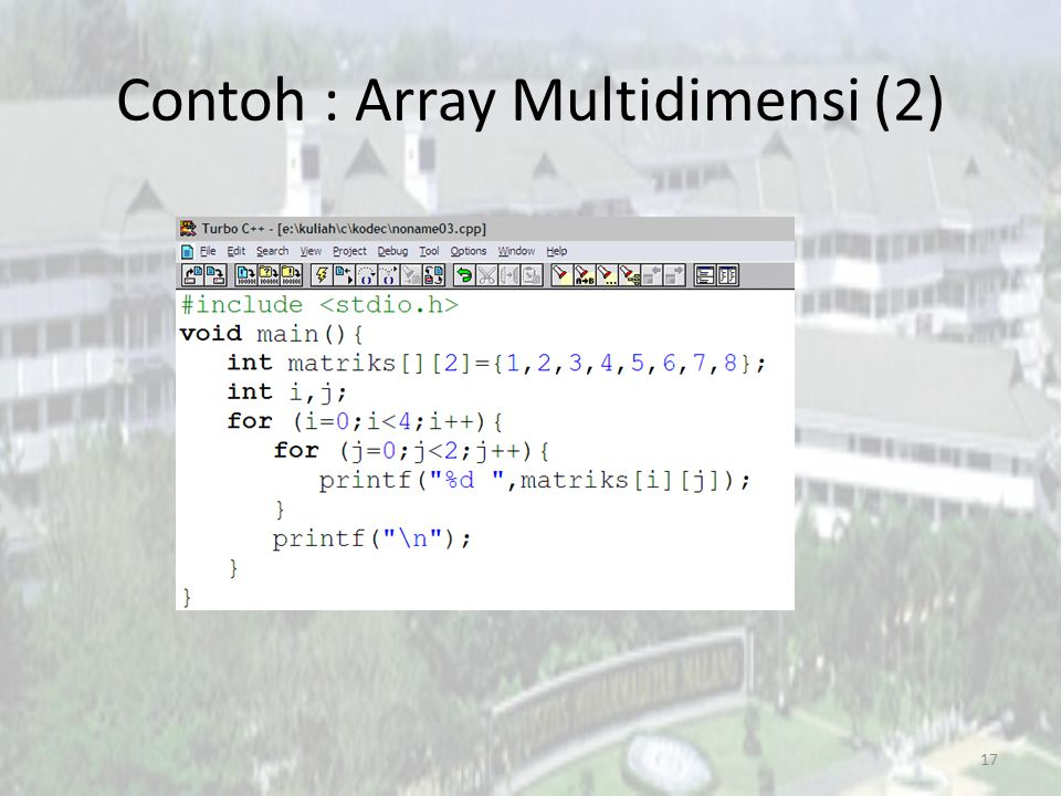 Contoh : Array Multidimensi (2)