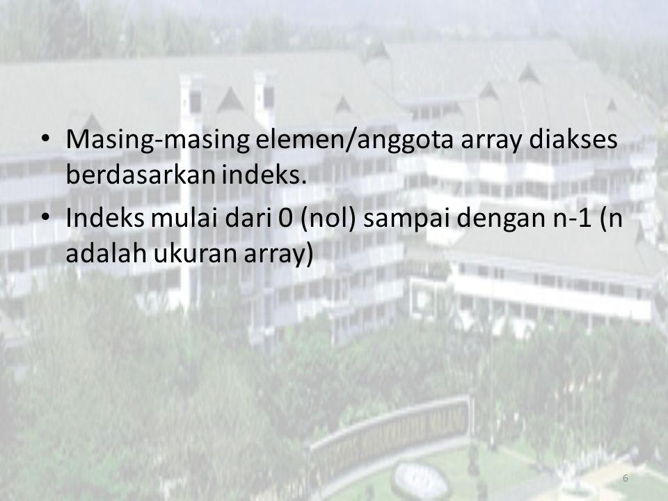 Masing-masing elemen/anggota array diakses berdasarkan indeks.