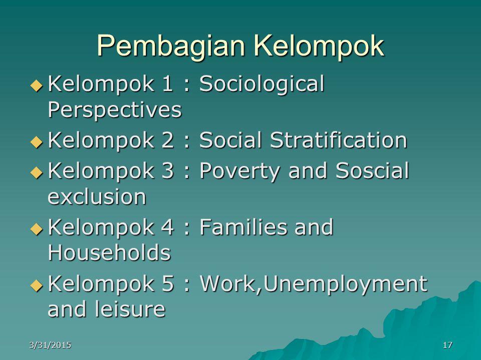 Pembagian Kelompok Kelompok 1 : Sociological Perspectives
