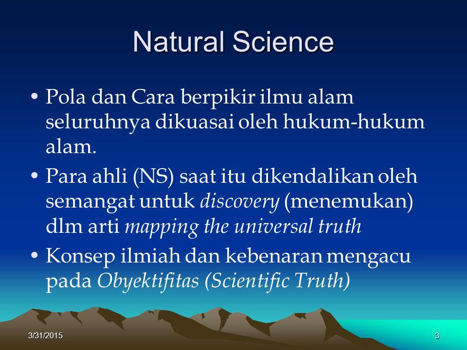 Natural Science Pola dan Cara berpikir ilmu alam seluruhnya dikuasai oleh hukum-hukum alam.