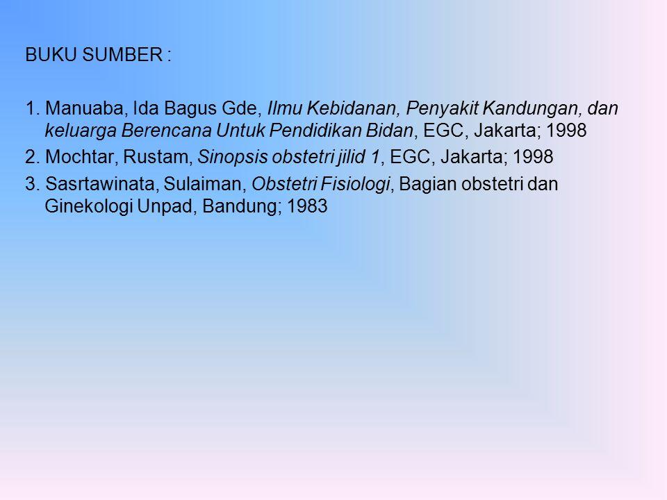 BUKU SUMBER : 1. Manuaba, Ida Bagus Gde, Ilmu Kebidanan, Penyakit Kandungan, dan keluarga Berencana Untuk Pendidikan Bidan, EGC, Jakarta; 1998.