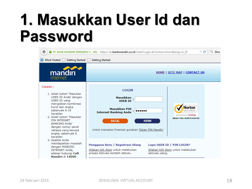 1. Masukkan User Id dan Password