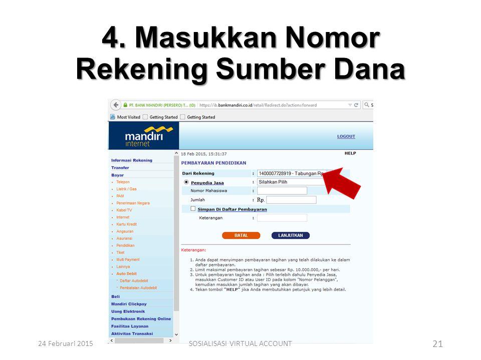 4. Masukkan Nomor Rekening Sumber Dana