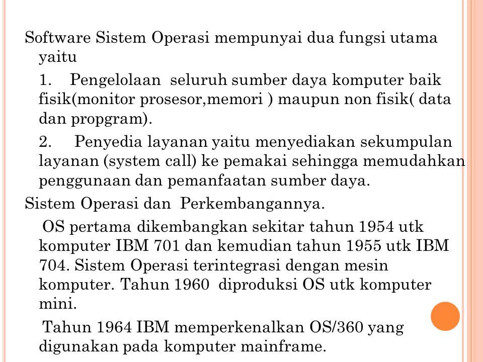 Software Sistem Operasi mempunyai dua fungsi utama yaitu 1