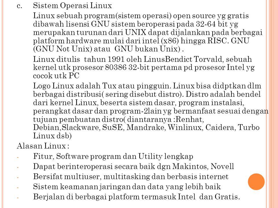 c. Sistem Operasi Linux