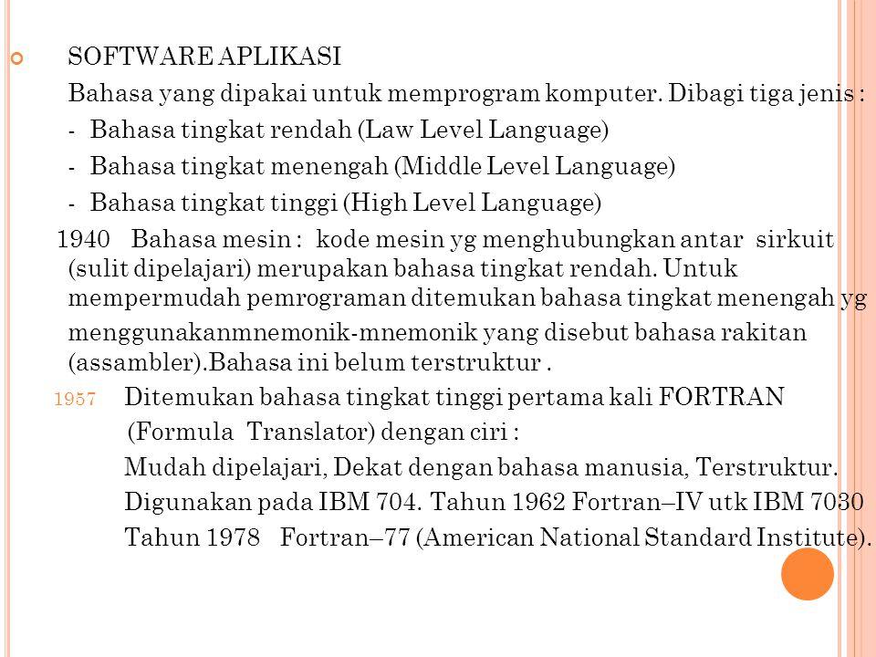 SOFTWARE APLIKASI Bahasa yang dipakai untuk memprogram komputer. Dibagi tiga jenis : - Bahasa tingkat rendah (Law Level Language)