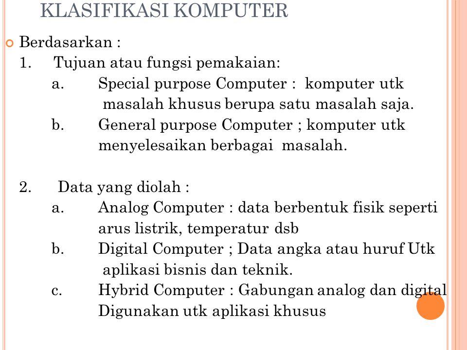 KLASIFIKASI KOMPUTER Berdasarkan : 1. Tujuan atau fungsi pemakaian: