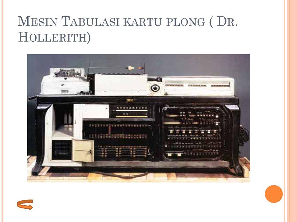 Mesin Tabulasi kartu plong ( Dr. Hollerith)