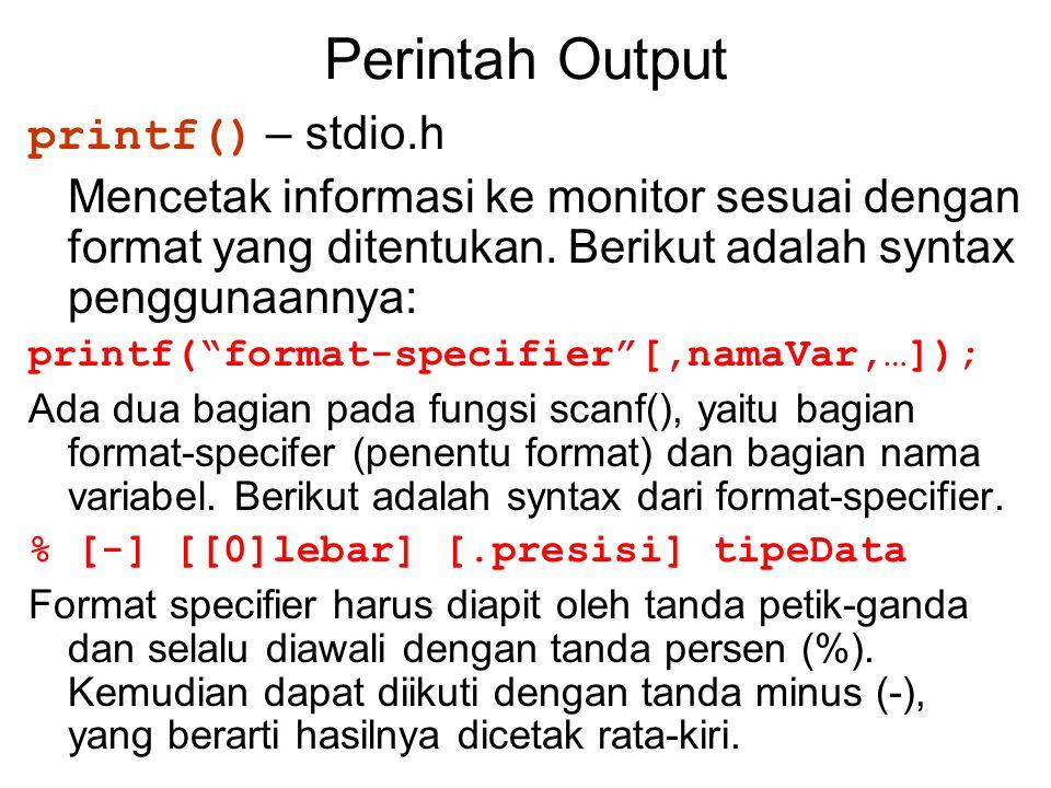 Perintah Output printf() – stdio.h