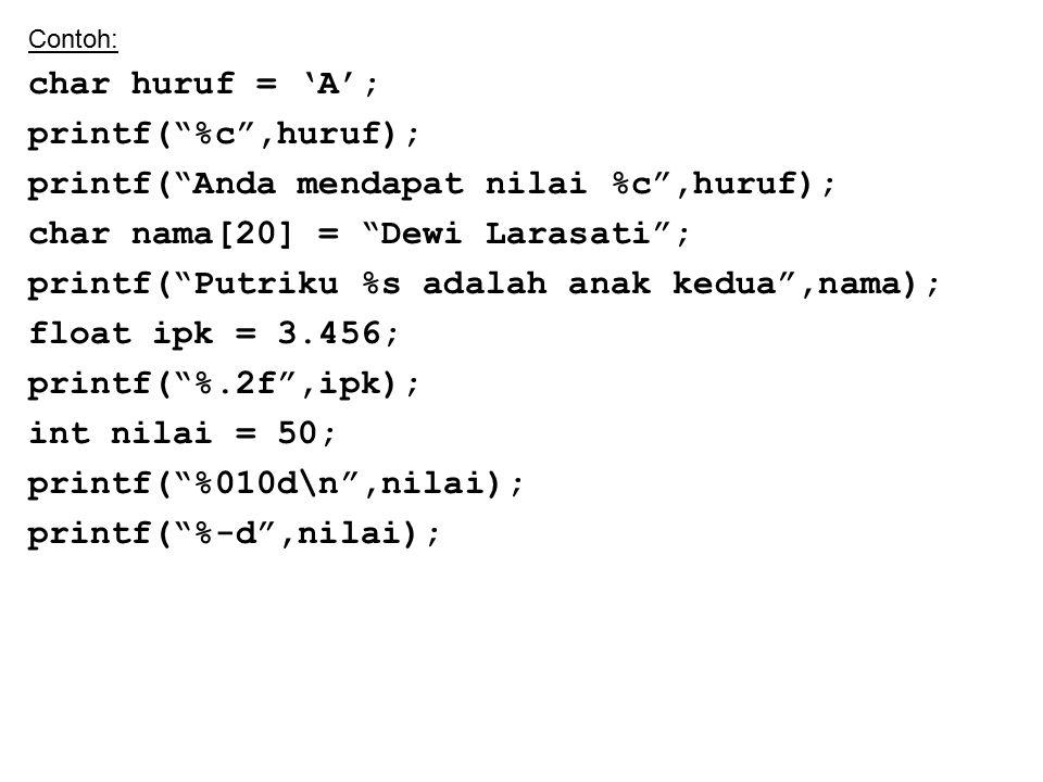 printf( Anda mendapat nilai %c ,huruf);