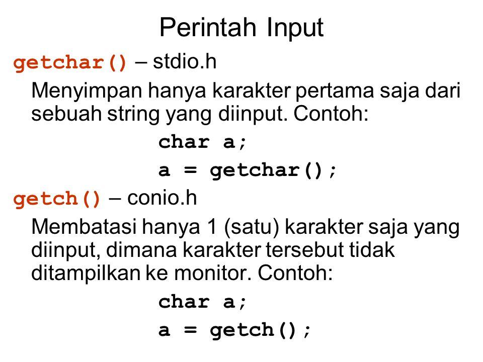 Perintah Input getchar() – stdio.h