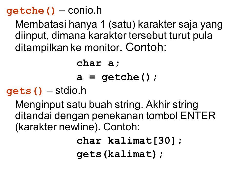 char a; getche() – conio.h