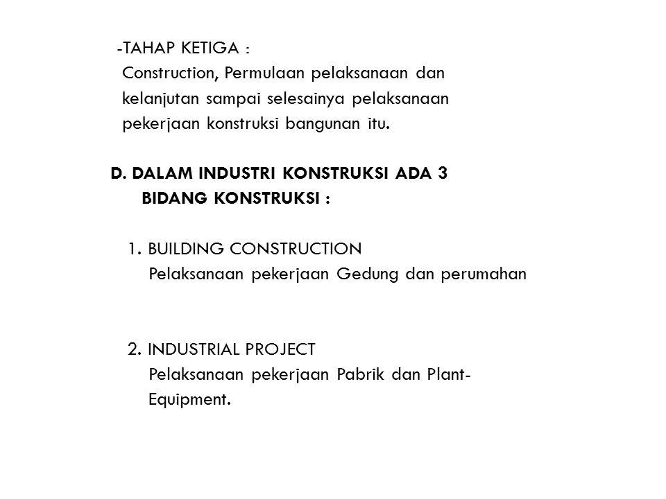 -TAHAP KETIGA : Construction, Permulaan pelaksanaan dan. kelanjutan sampai selesainya pelaksanaan.