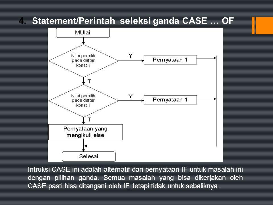 4. Statement/Perintah seleksi ganda CASE … OF
