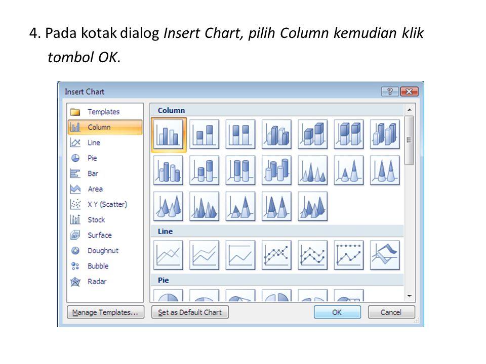 4. Pada kotak dialog Insert Chart, pilih Column kemudian klik tombol OK.