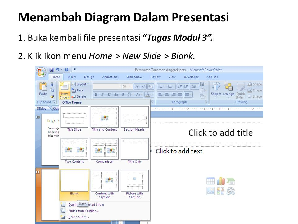 Menambah Diagram Dalam Presentasi
