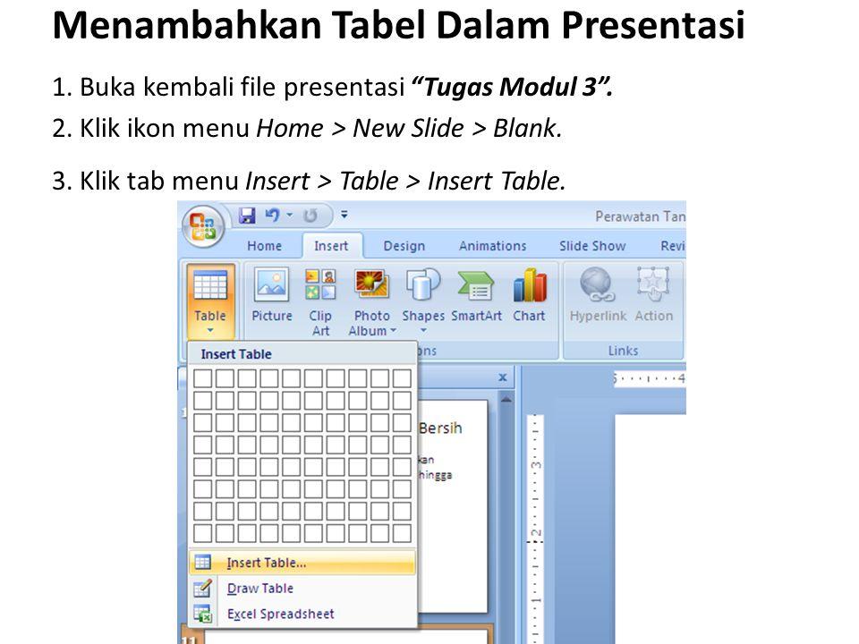 Menambahkan Tabel Dalam Presentasi