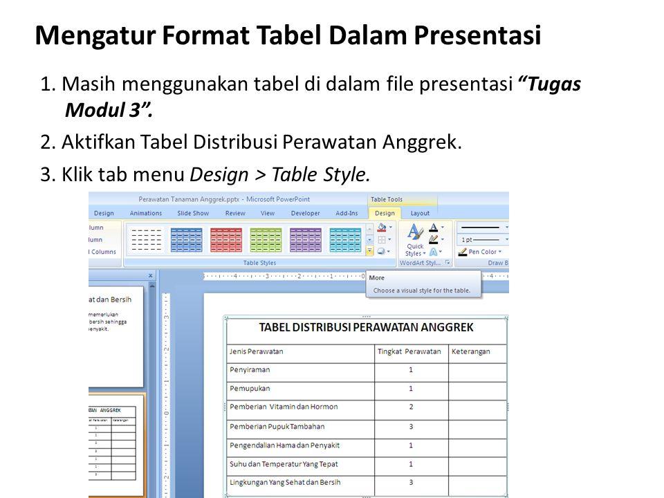 Mengatur Format Tabel Dalam Presentasi