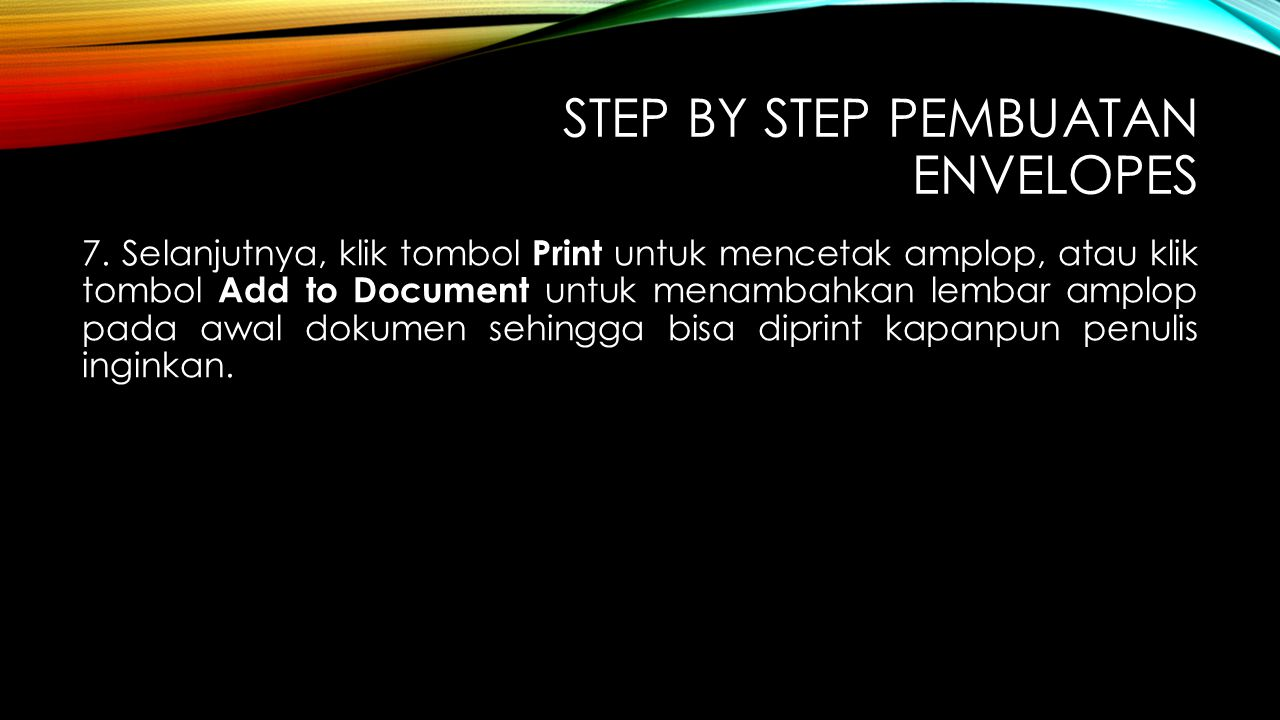 Step By Step pembuatan Envelopes