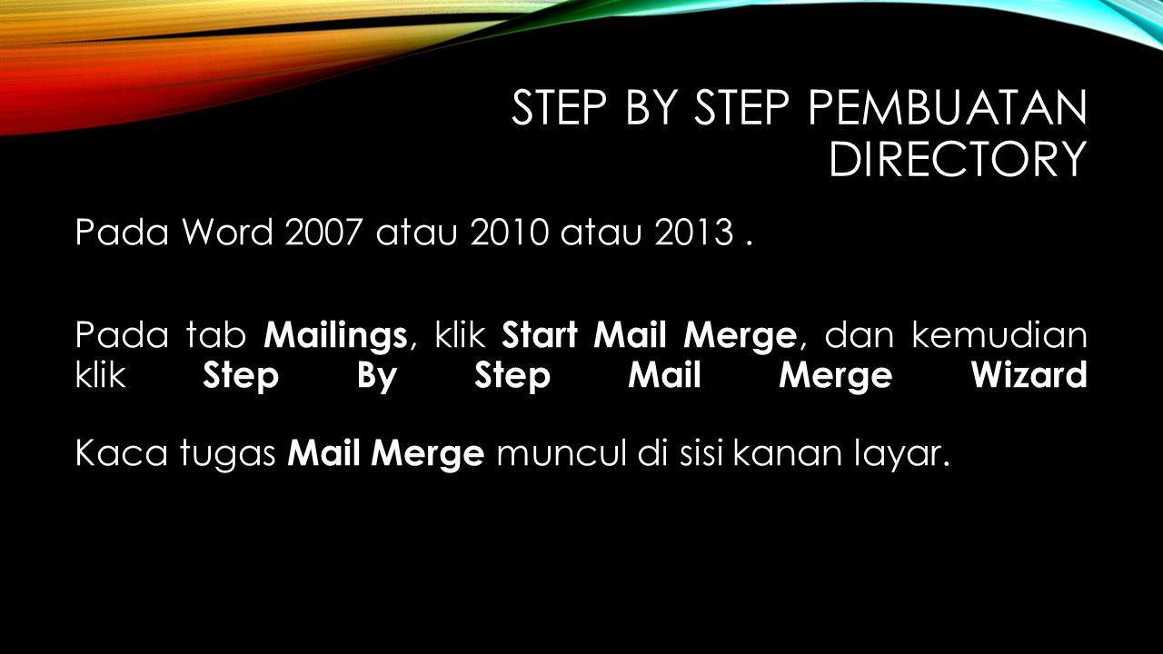 Step by step pembuatan directory
