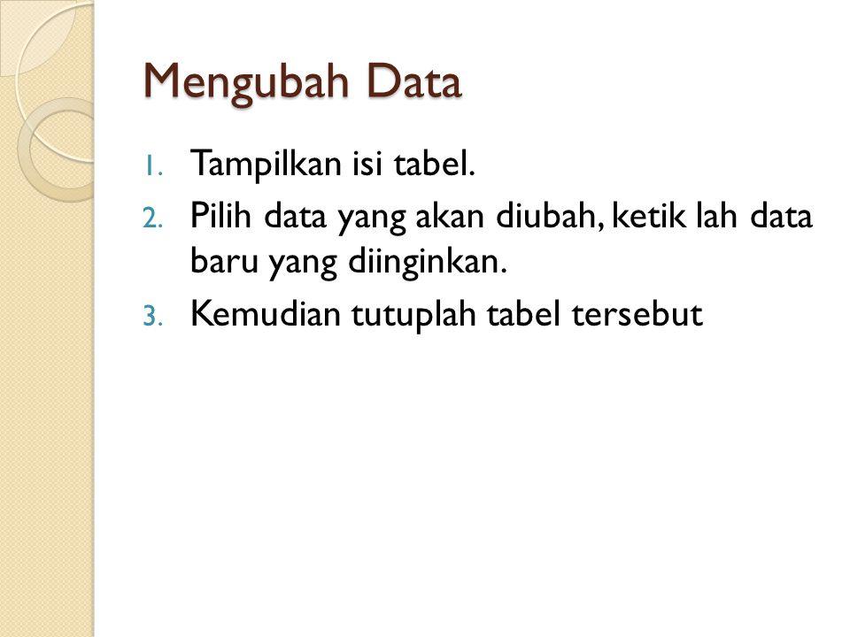 Mengubah Data Tampilkan isi tabel.
