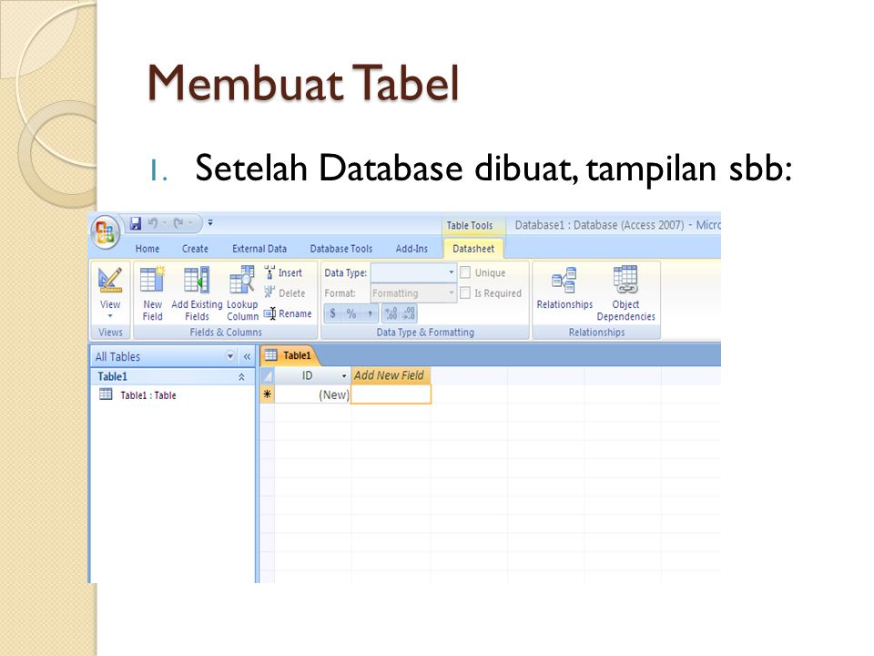 Membuat Tabel Setelah Database dibuat, tampilan sbb: