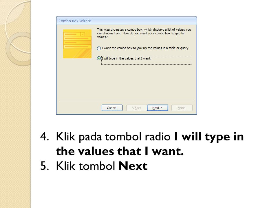 Klik pada tombol radio I will type in the values that I want.