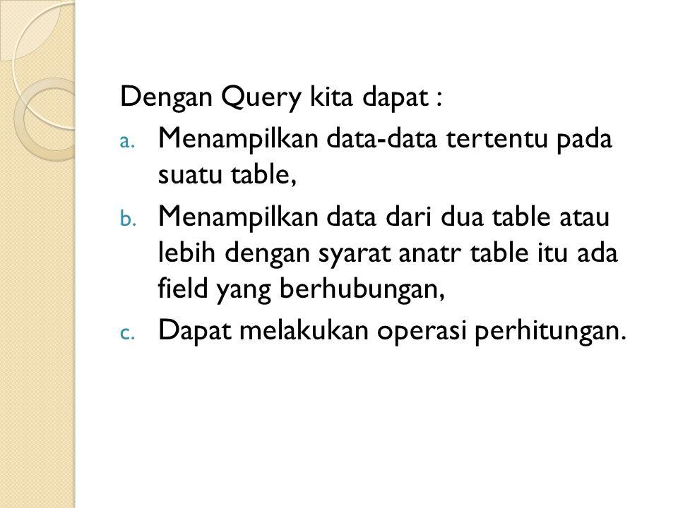 Dengan Query kita dapat :