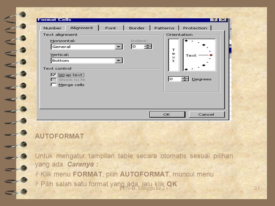  Klik menu FORMAT, pilih AUTOFORMAT, muncul menu