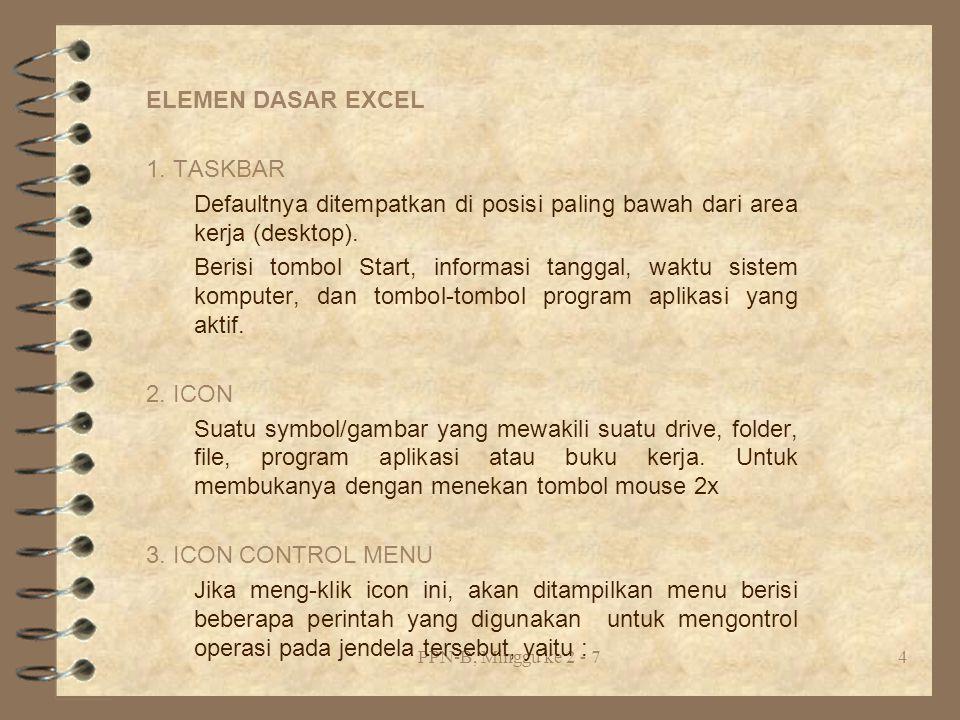 ELEMEN DASAR EXCEL 1. TASKBAR
