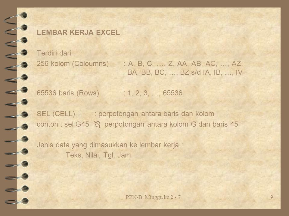 SEL (CELL) : perpotongan antara baris dan kolom