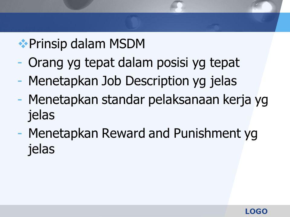 Prinsip dalam MSDM Orang yg tepat dalam posisi yg tepat. Menetapkan Job Description yg jelas. Menetapkan standar pelaksanaan kerja yg jelas.