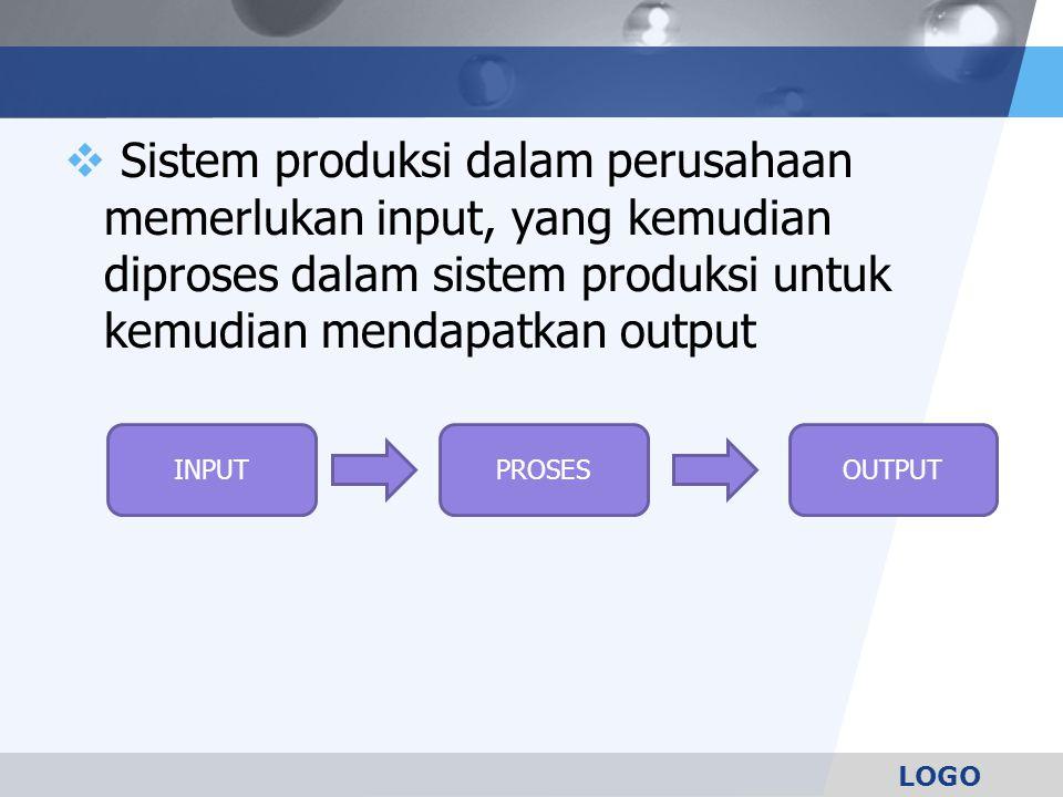 Sistem produksi dalam perusahaan memerlukan input, yang kemudian diproses dalam sistem produksi untuk kemudian mendapatkan output