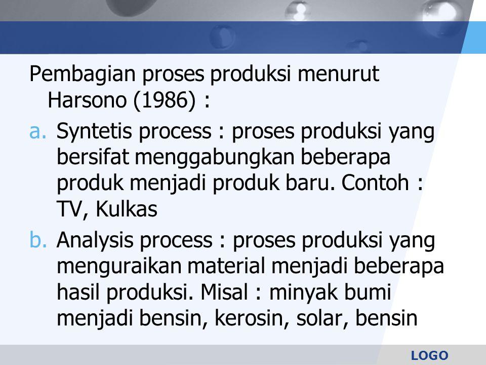 Pembagian proses produksi menurut Harsono (1986) :