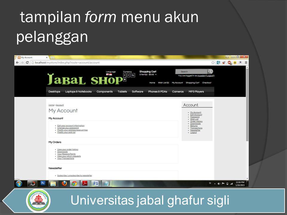 tampilan form menu akun pelanggan