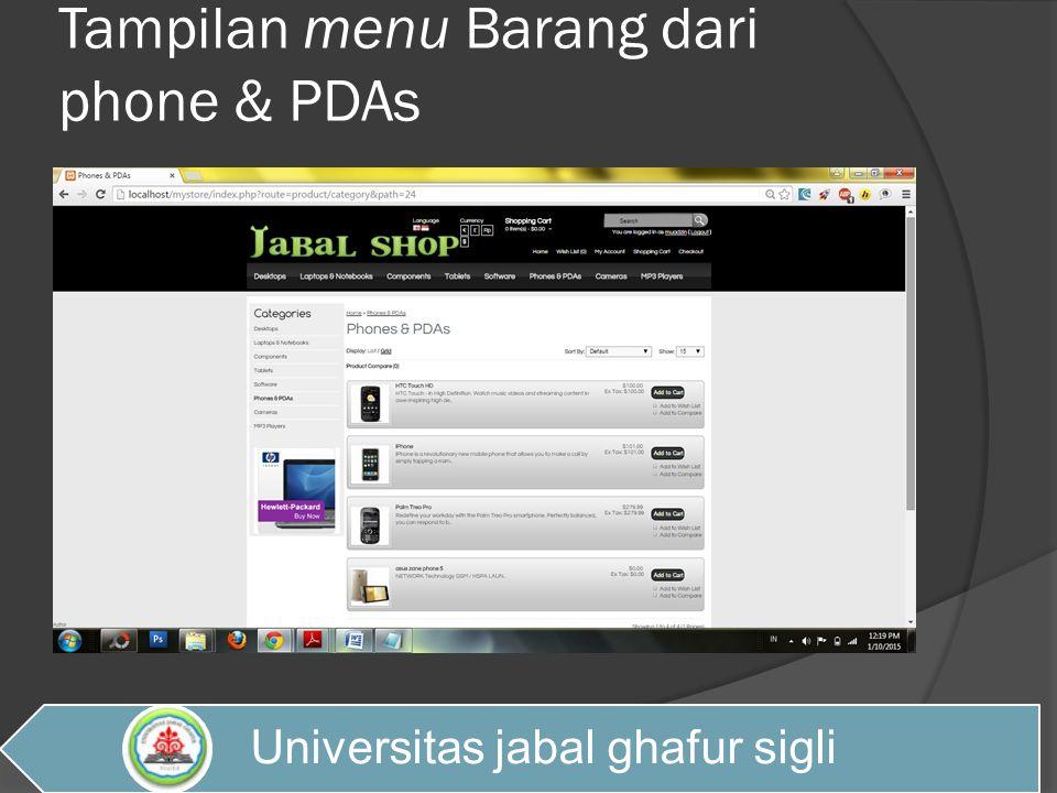 Tampilan menu Barang dari phone & PDAs