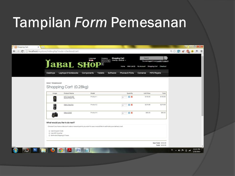 Tampilan Form Pemesanan