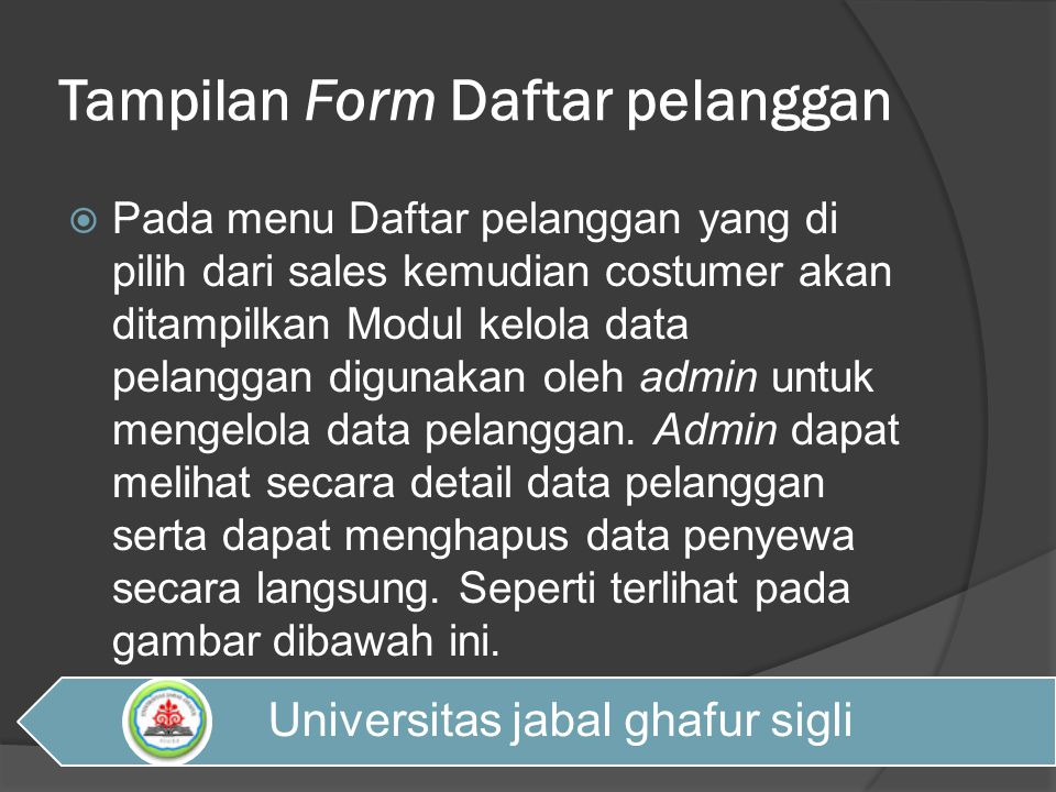 Tampilan Form Daftar pelanggan