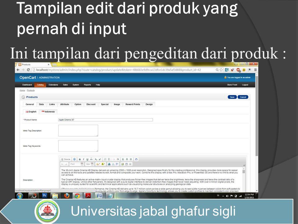 Tampilan edit dari produk yang pernah di input