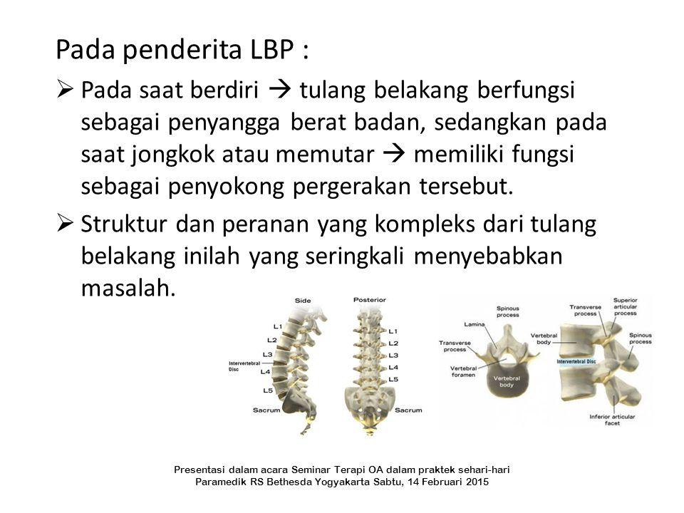 Pada penderita LBP :