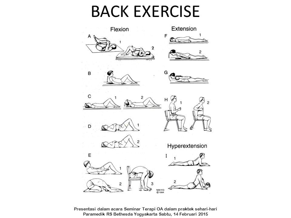 BACK EXERCISE Presentasi dalam acara Seminar Terapi OA dalam praktek sehari-hari.