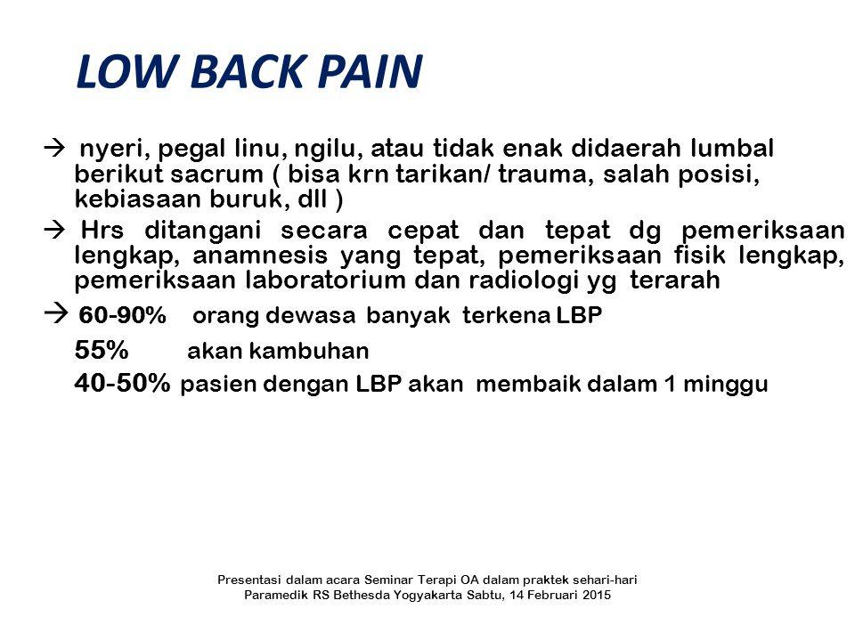 LOW BACK PAIN  60-90% orang dewasa banyak terkena LBP