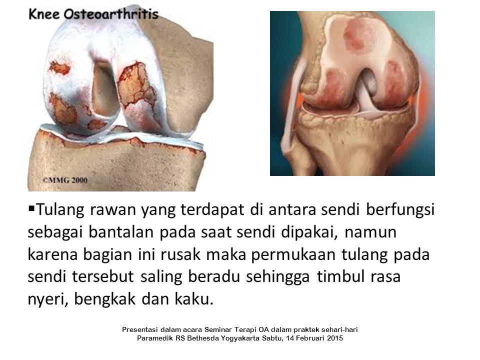 Tulang rawan yang terdapat di antara sendi berfungsi sebagai bantalan pada saat sendi dipakai, namun karena bagian ini rusak maka permukaan tulang pada sendi tersebut saling beradu sehingga timbul rasa nyeri, bengkak dan kaku.