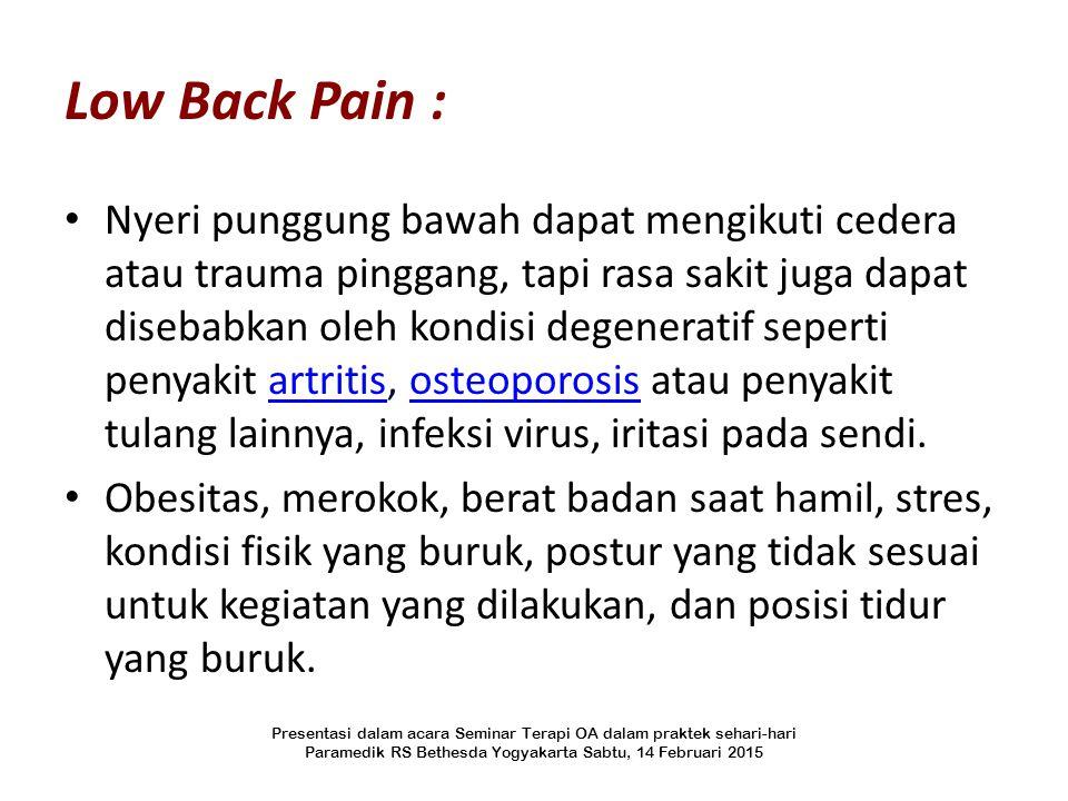 Low Back Pain :