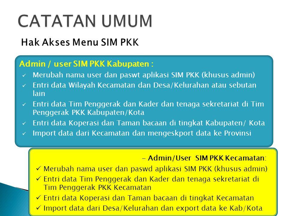 CATATAN UMUM Hak Akses Menu SIM PKK Admin / user SIM PKK Kabupaten :