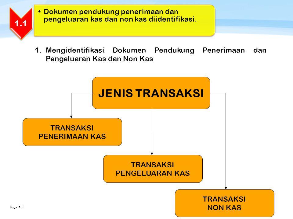 Dokumen pendukung penerimaan dan pengeluaran kas dan non kas diidentifikasi.