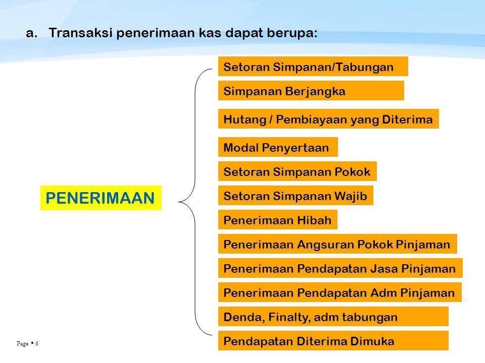 PENERIMAAN a. Transaksi penerimaan kas dapat berupa: