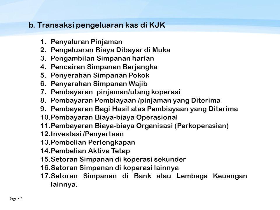 b. Transaksi pengeluaran kas di KJK