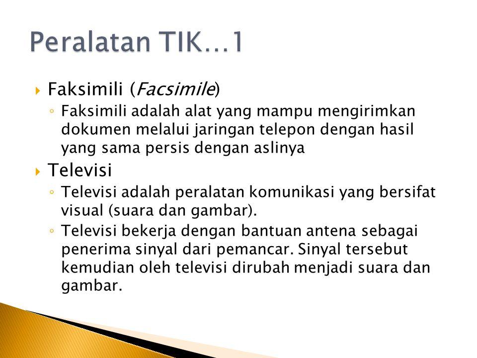 Peralatan TIK…1 Faksimili (Facsimile) Televisi