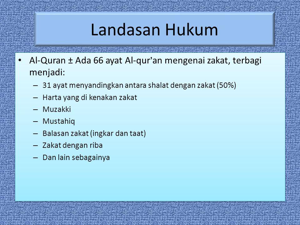 Landasan Hukum Al-Quran ± Ada 66 ayat Al-qur'an mengenai zakat, terbagi menjadi: 31 ayat menyandingkan antara shalat dengan zakat (50%)